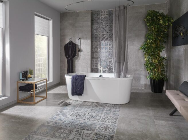 Porcelanosa Antique Silver 596x596 Installed 3