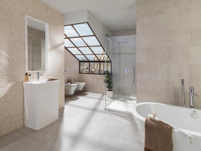 Porcelanosa Rodano Caliza 596x596 Installed